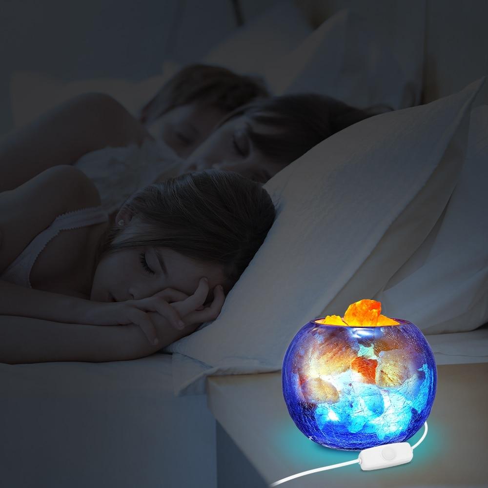 Lámpara de sal de cristal azul USB, luz LED de noche regulable con función de aire purificado, lámpara de mesa para interiores, lámpara de lava para dormitorio - 6