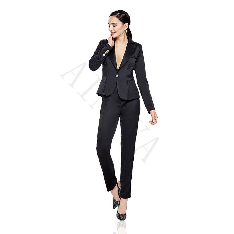 on sale d9c90 d8f3f US $90.09 9% di SCONTO Pantaloni giacca Nera Donna D'affari Vestiti di  Cotone Mescolato Raso Risvolto Formale Femminile Ufficio Uniforme Signore  di ...