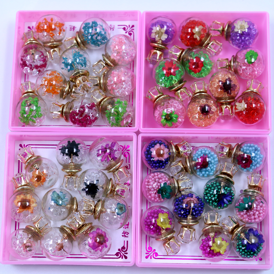 free shipping cheap glass ball double faced big and small stud earrings filled with shining. Black Bedroom Furniture Sets. Home Design Ideas
