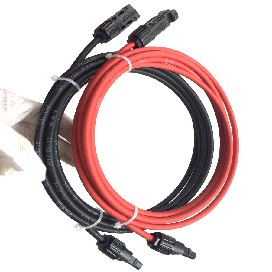 free shipping TUV Solar PV Cable 6mm2 with MC4 connector Tinned-Copper  Conductor TUV approved XLPE insulation solar cable wire