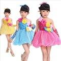 Das crianças Lantejoulas Modern Jazz Hip Hop Dancewear Meninas Traje de Dança de Salão Crianças Ballet tutu partido Princesa vestido da dança