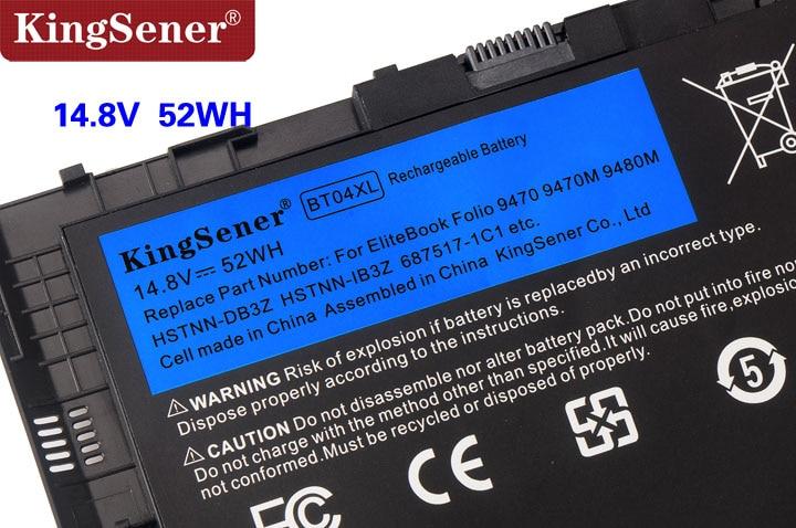 KingSener Nouveau BT04XL Batterie pour HP EliteBook Folio 9470 9470 m 9480 m HSTNN-IB3Z HSTNN-DB3Z HSTNN-I10C BA06 687517-1C1 687945- 001 - 5