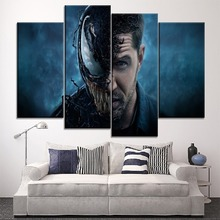 Modular Picture 4 Panel Modern Artwork Canvas HD Print Venom Deadly Guardian Movie Painting For Living Room Wall Decorative
