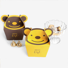 50pcs Cute Bear Paper Gift Box Wedding Candy Box Lovely Cartoon Paper Bags Candy Chocolate Boxes Baby Shower Party Decoration(China)