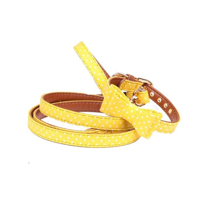 pawstrip 4 Colors Dot Small Dog Collar Bandana Soft Leather Dog Leash Cute Bow Cat Collar Pet Teacup Chihuahua Collar Leash Lead 3
