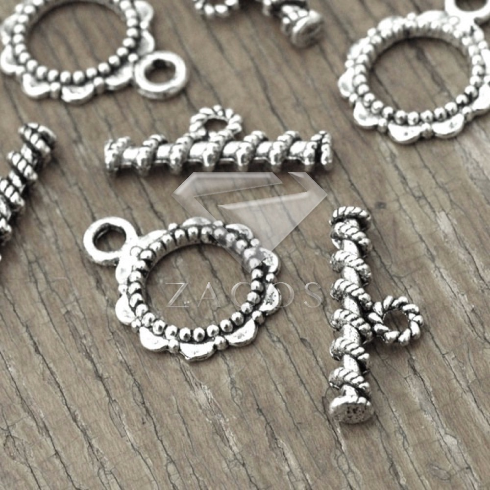 30Pcs Tibetan/Antique Silver Tone Round Ring Bar Ring Toggle Zinc Alloy Jewellry Making Findings Fit Bracelet Necklace TS2110