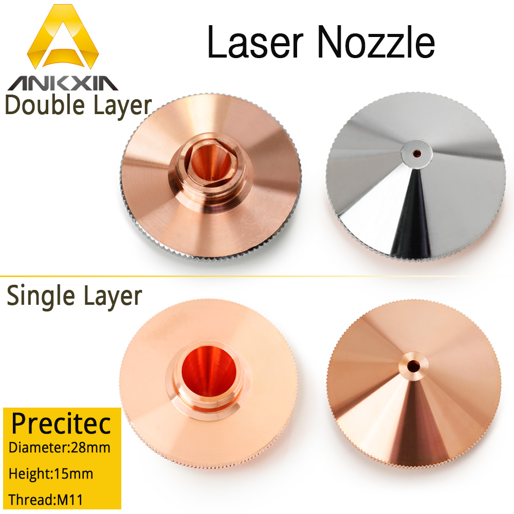 Ankxia OEM PRECITEC Laser Nozzle For Co2&Fiber Laser Cutting Machine Single Double Layer Chrome-Plated P0591-571-00001 0.8-5.0 lskcsh same quality as original precitec ceramic nozzle holder kt b2 con p0571 1051 00001 for precitec fiber laser cutting head