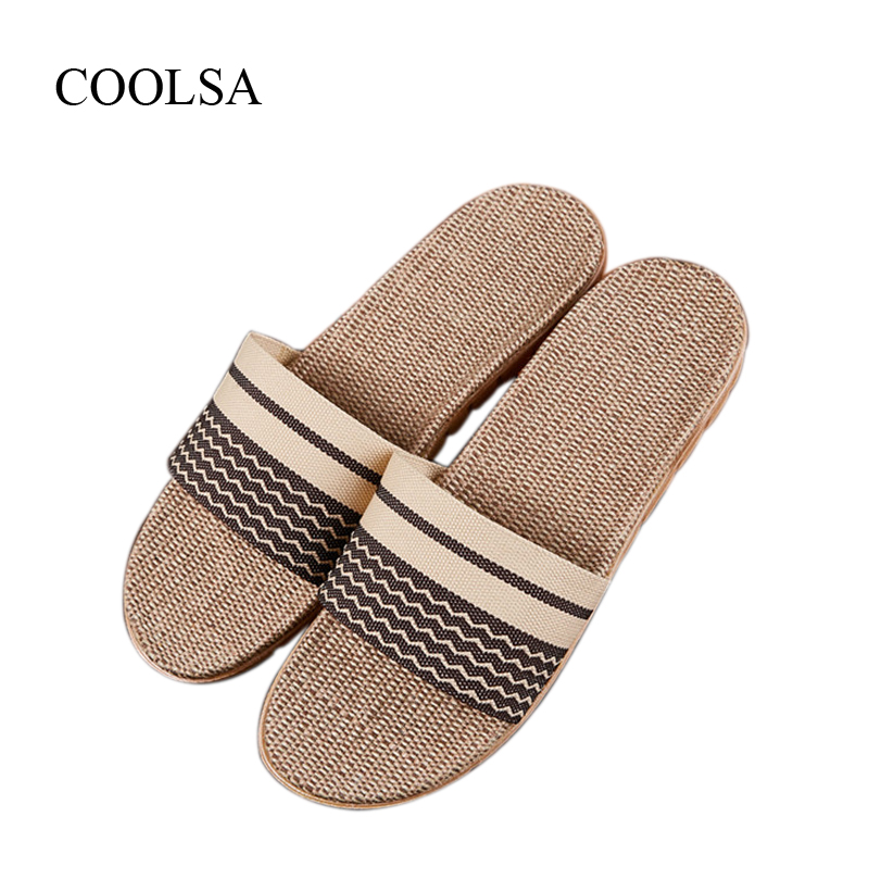 COOLSA Men's Flax Slippers Breathable Non-slip Linen Slippers Striped Flip Flops Indoor Floor Slippers Brand Men Hemp Slides Hot coolsa women s summer flat non slip linen slippers indoor breathable flip flops women s brand stripe flax slippers women slides