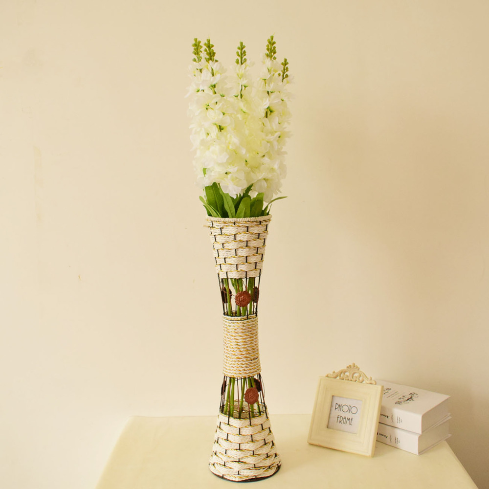 Large tall metal white golden floor vases with silk hyacinth large tall metal white golden floor vases with silk hyacinth artificial flowers set for home living room wedding decorations in artificial dried flowers reviewsmspy