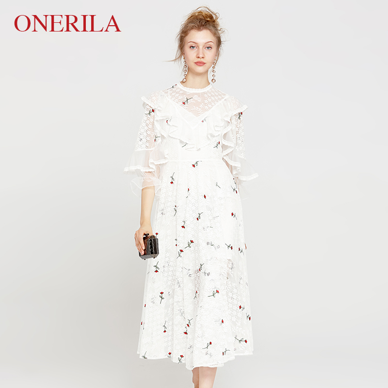 ONERILA 2 Piece Set Bohemia Mori Girl Spring Summer O Neck Midi Embroidery Flower White Lace Dress for Women Party Beach Holiday