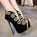 2017 Новый Тонкий Высокий Каблук Ботильоны Обувь Сексуальная Заклинание Цвет Партия Обуви Женской Моды Платформы Женщин Сапоги