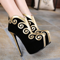 2017 New Thin High Heel Ankle Boots Shoes Sexy Spell Color Party  Shoes Fashion Women Platform Women Boots