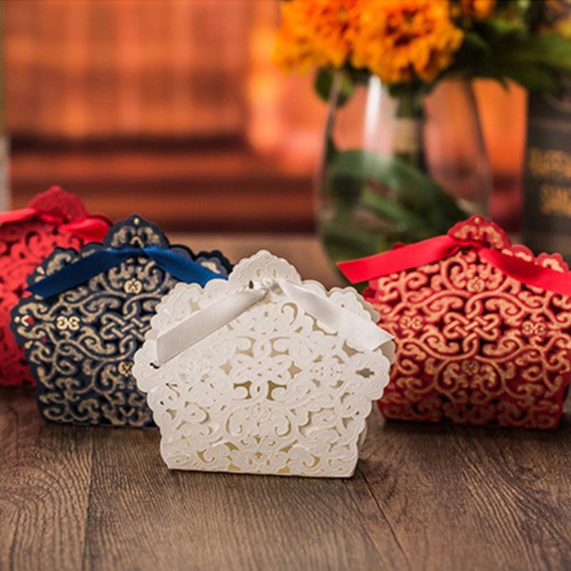 Romantic Red Gold White Wedding Gift Favors Bag Elegant Luxury