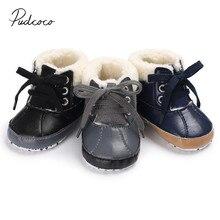 Г. Новые брендовые ботинки для новорожденных мальчиков на осень-зиму кожаная повседневная детская обувь на шнуровке меховая обувь с мягкой подошвой для детей от 0 до 18 месяцев