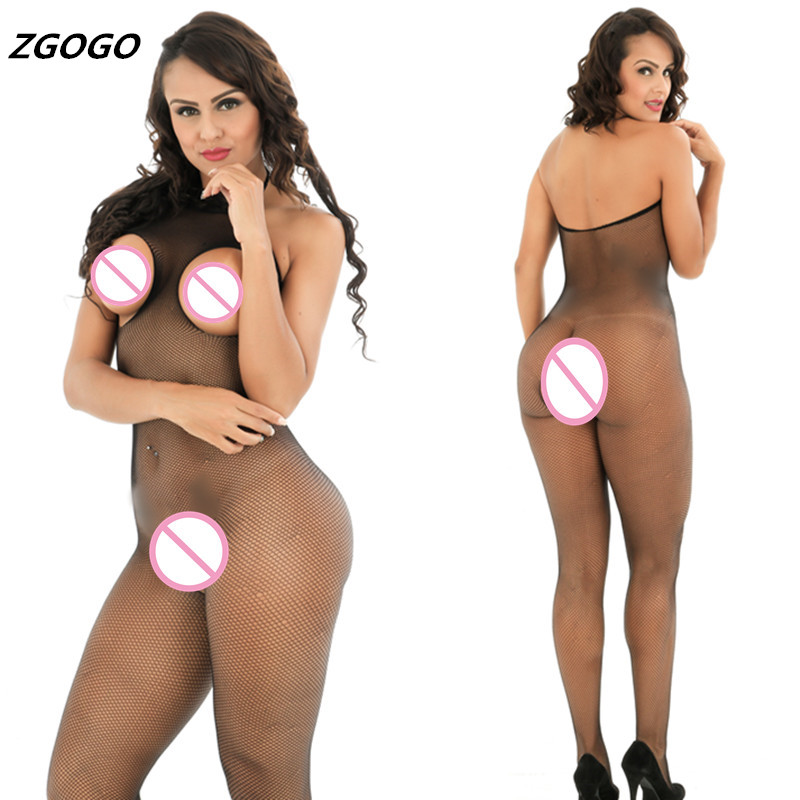 ZGOGO Sexy Lingerie black mesh net Sex Costumes women Hose Open Crotch Open Chest Teddies Underwear Intimates Kimono