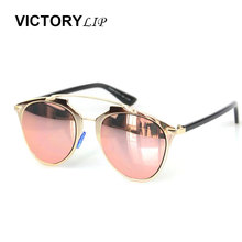 VictoryLip Classic Rose Gold Mirror Sunglasses Fashion Brand Designer Women or Men UV400 Real Sun Glasses Female Eyewear Ladies