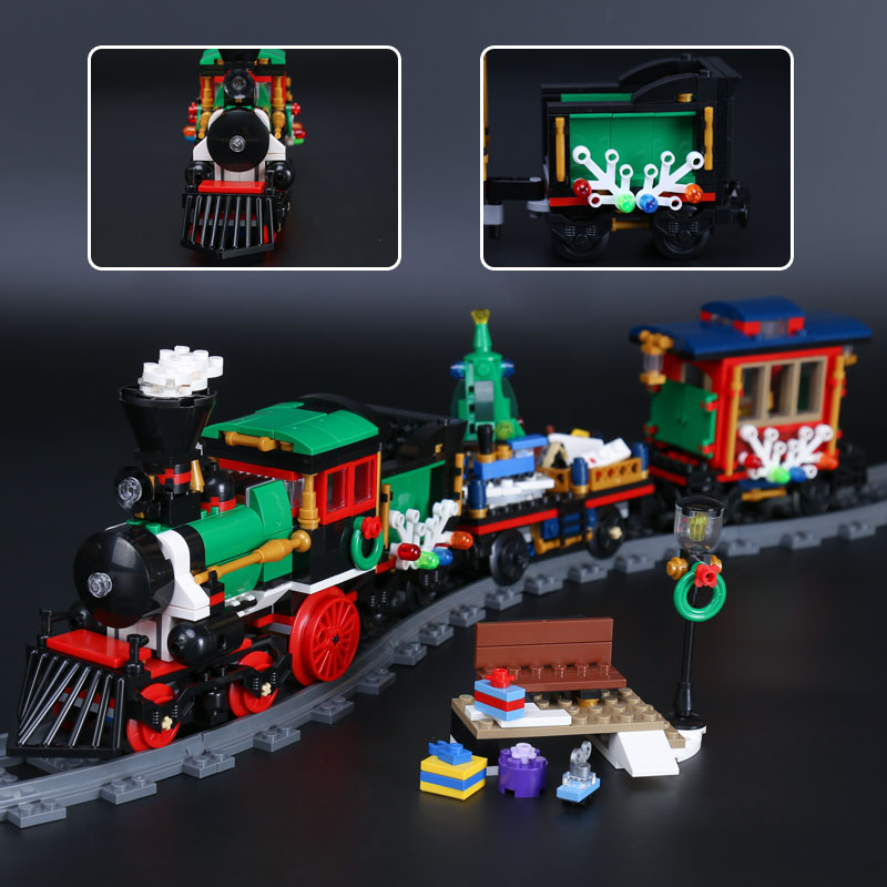 H&HXY IN STOCK 36001 770 PCS Winter Holiday Train Building Bricks Blocks New year LEPIN Gift Toys Children educational 10254 dhl lepin 36001 winter holiday train 36011 winter village train educational building blocks toys gifts clone with 10254 10259