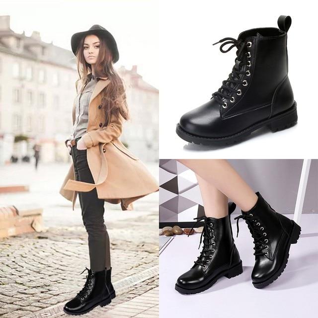 Çizmeler Kadın Moda Katı Deri Orta Dantel-up Kalın Martin Çizmeler Yuvarlak Ayak Ayakkabı Açık PU Deri Kış kadın ayakkabısı sep 5