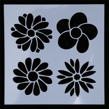 1 Pcs Flowers Shape Reusable Stencils DIY Airbrush Painting Stencil Scrapbooking Album Crafts image