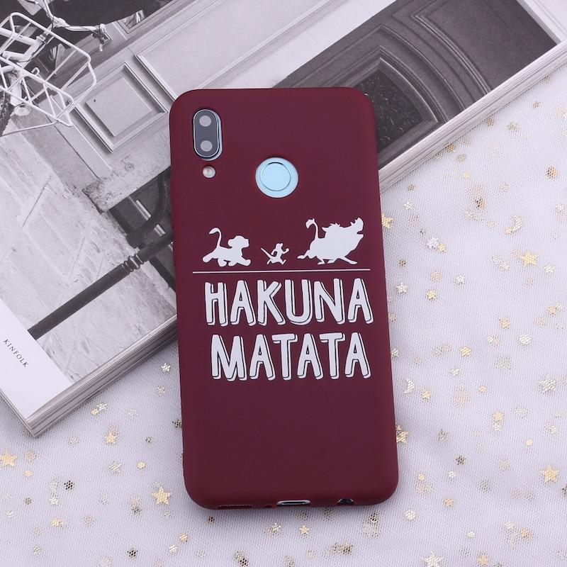 Для huawei Honor mate 10 20 Nova P20 P30 P Smart Hakuna Matata Король Лев карамельный силиконовый чехол для телефона Capa Fundas Coque - Цвет: Burgundy