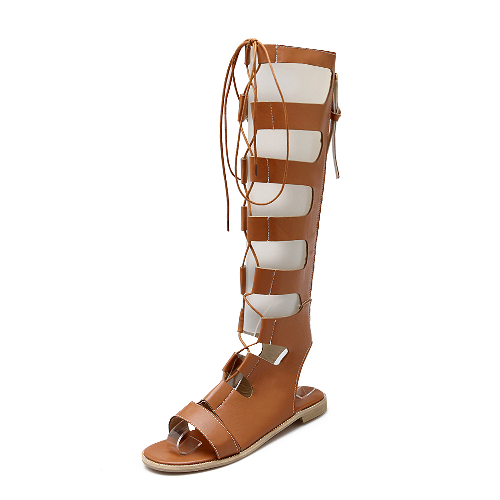 b6f977a79d23 Shoe N Tale 2016 New Women Leather Knee high Gladiator sandals women Long  lace up and zip summer sandals Flat heels women shoes-in Women s Sandals  from ...