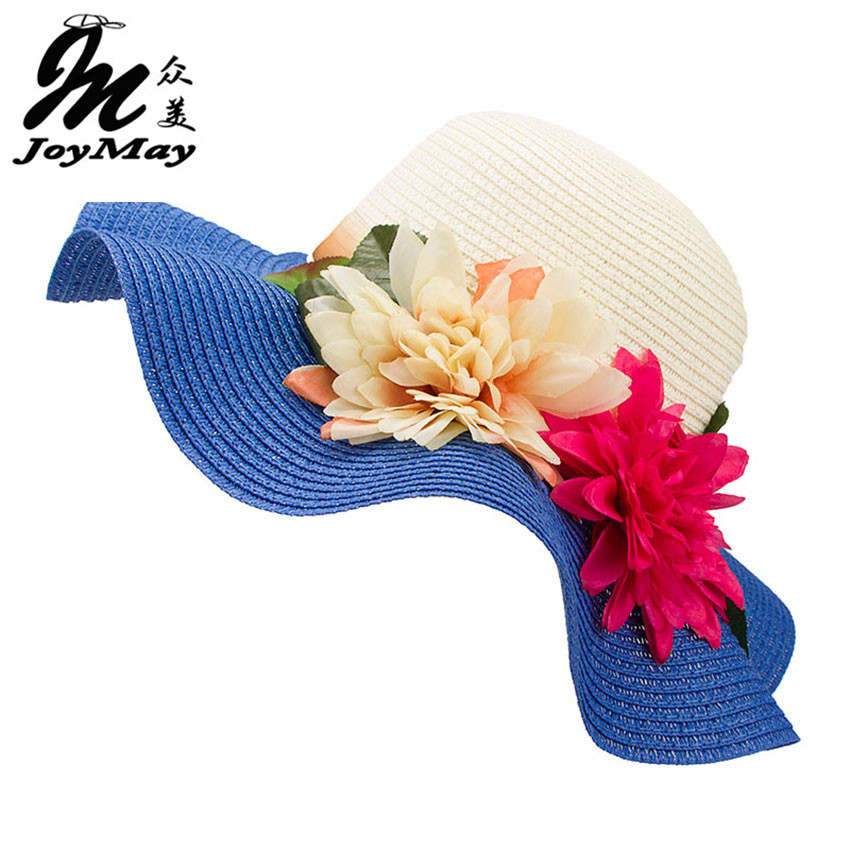 3db7f05f177 Fashion Mother Daughter Hat Lady Wide Large Brim Floppy Summer Beach Sun  Straw Hat Cap with flower Free Shipping C015