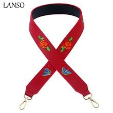Lanso женщины сумку Аксессуары натуральная кожа регулируемый широкий сумки на плечо ремни вышивка красочные цветы женская сумка ремни