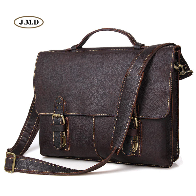 J.M.D Vintage Genuine Cow Leather Men's Dark Brown Briefcase Classic Style Messenger Laptop Handbag 7090R cool cow leather star cover book style pendant necklace brown