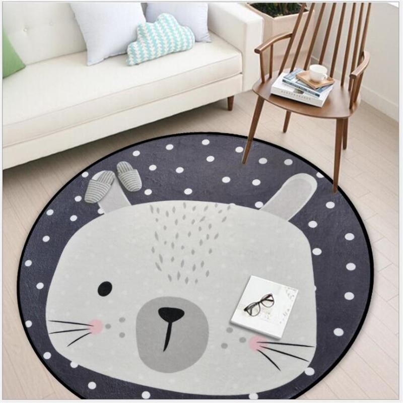AOVOLL Cartoon Animals Bear Fox Panda Round Carpet For Living Room Bedroom Home Decor Carpet Rug Children B  Soft Play Mat