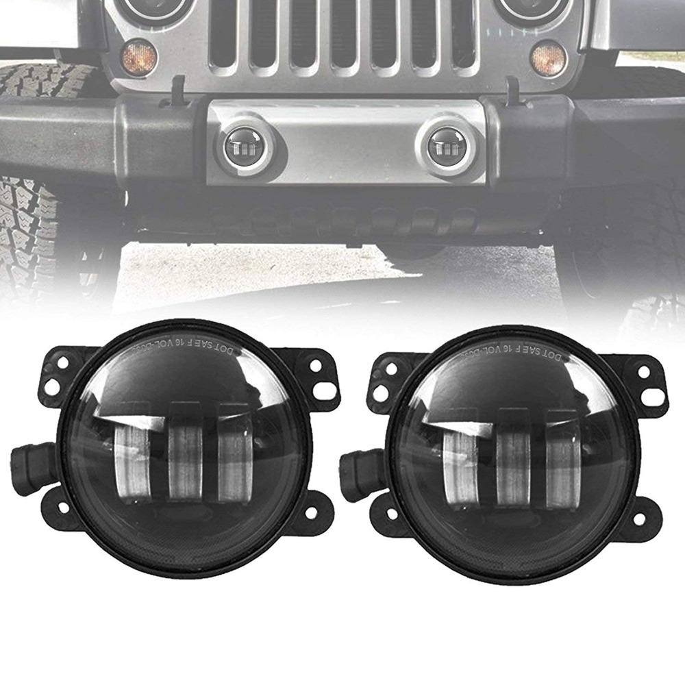 4 Round LED Fog Lights Headlights 30W Front Bumper LED Fog Light Assembly For jeep Wrangler