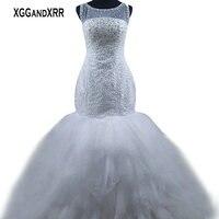 XGGandXRR Luxus Meerjungfrau Brautkleider 2018 Brautkleid Glänzende Perlen Rüschen Gericht Zug Weiß Braut Kleid Plus Größe