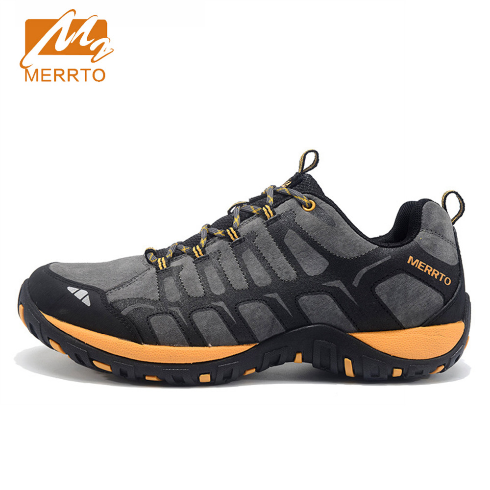 2017 Merrto Men Walking Shoes Breathable Non-slip Outdoor Sports Shoes Travel Shoes First Leather For Men Free Shipping MT18607 branded men s penny loafes casual men s full grain leather emboss crocodile boat shoes slip on breathable moccasin driving shoes