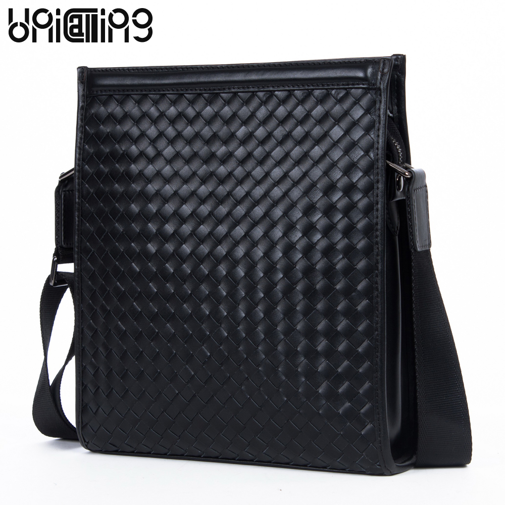 UniCalling high quality brand men leisure/business fashion Knitting genuine leather messenger bag men real leather bag unicalling brand men genuine leather bag