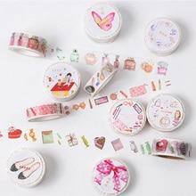 Kawaii Girls Cat Bike Decorative Tape Washi Masking Tape DIY Stickers Scrapbooking for Kids Student Diary Album Cute Stationery
