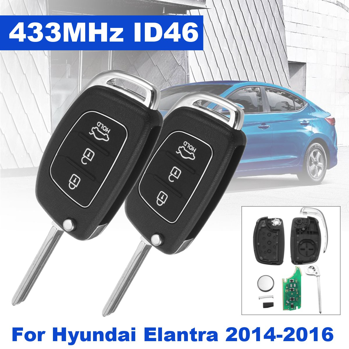 2Pcs 3 Button Folding Car Remote Key Fob w Battary 433MHz ID46 Chip font b Battery