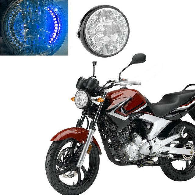 1 Pieza Nueva 7 Pulgadas Motocicleta LLEVÓ La Linterna H4 Bombilla de Luz Delantera De La Motocicleta Azul para Harley Dividson Moto Luz de la cabeza