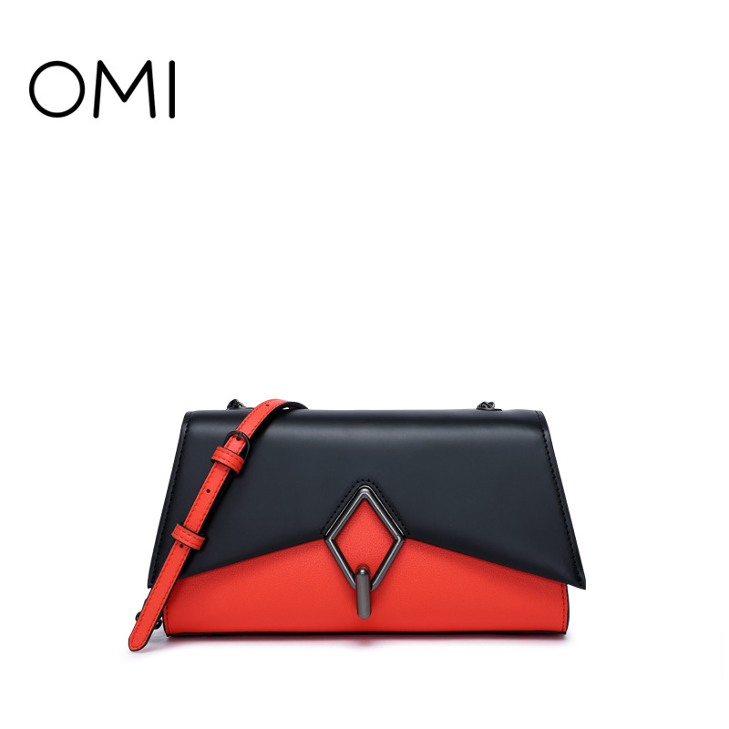Omi handbag 2018 new hit color handbag diagonal bag shoulder bag lock buckle ladies fashion bag min handbag shoulder diagonal three purpose butterfly spiraea lingge bag mar25