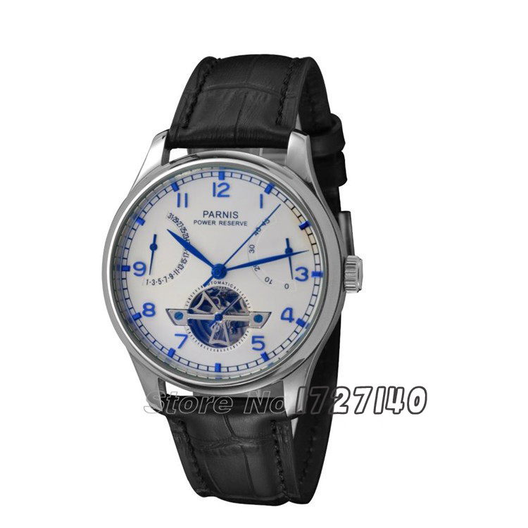 43mm Parnis Power Reserve/White Dial/Blue Perf Automatic Men's Watch p008 casual 43mm parnis automatic power reserve white dial blue numbers silver watch case business watch men