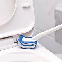 1 Pcs Plastic Long Handle No-cleaner Toilet Cleaning Brush Scouring Pad Soft Strong Dead Angle Wash Detachable Household Tools