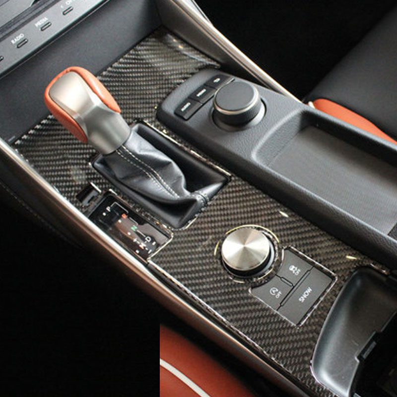 For Lexus IS250 IS200t in the control block carbon fiber decorative patch IS series interior modification aosrrun decorative cover control transmission stainless steel sequins modification is suitable for the for lexus ct200h
