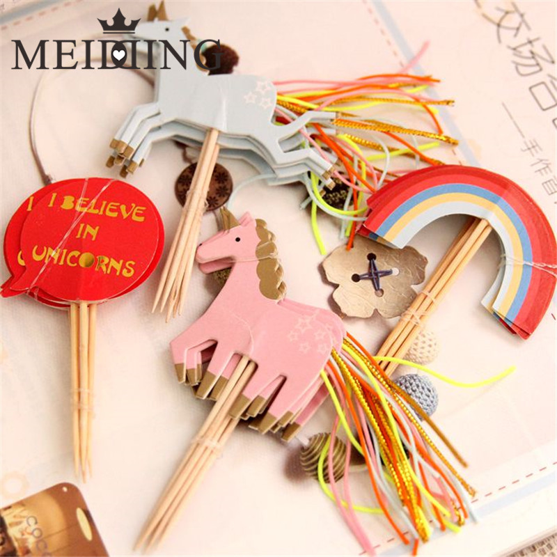 MEIDDING-24pcs/lot Unicorn Party Cake Topper Happy Birthday Cupcake Topper Party Baby Shower Kids Children Party Cake Decoration