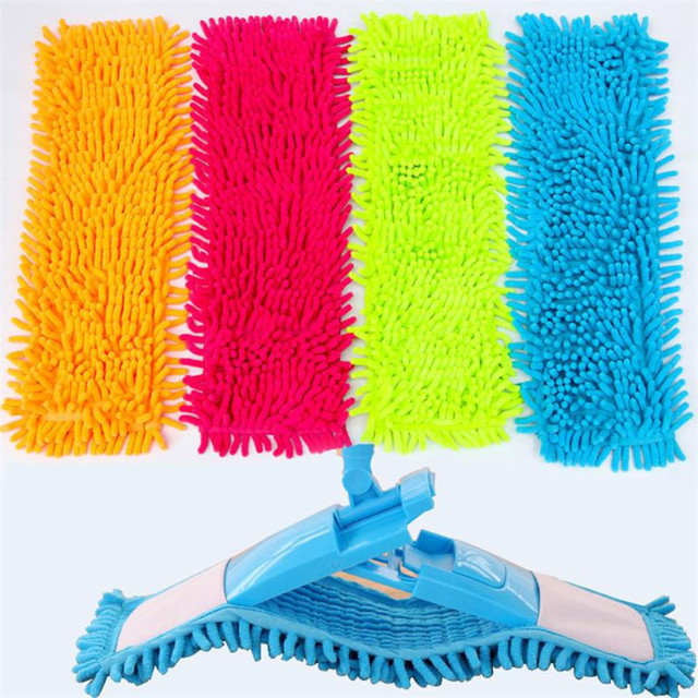 US $1 97 21% OFF|Home Cleaning Pad Chenille Household Dust Mop Head  Replacement Microfiber Replace Rectangle Mop Heads drop shipping-in Mops  from Home