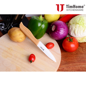 Image 4 - Ceramic knife set 3456 Bamboo handle kitchen knives Paring fruit knives hot sale kitchen tool cutter meat knives