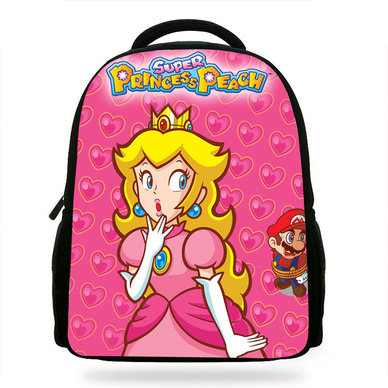 14-inch Cute Princess Peach Mario Print Girls Small Backpack Children School Bags Kindergarten  Design Baby Bags Kids Book Bag