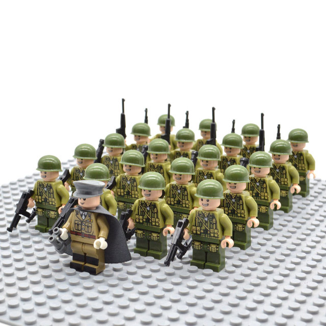 21pcs/set WW2 Allied Army Troops US Military Soldiers and Officer with Random Weapons Building Blocks Brick Toys for Kids