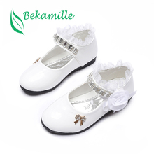 Bekamille Flower Girls Shoes Spring Autumn Princess Lace PU Leather