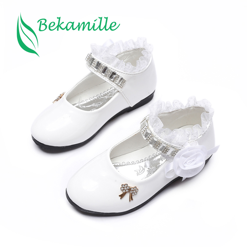 Bekamille flor niñas zapatos primavera otoño princesa encaje PU zapatos de cuero lindo Bowknot strass para 3-11 edades zapatos de niño