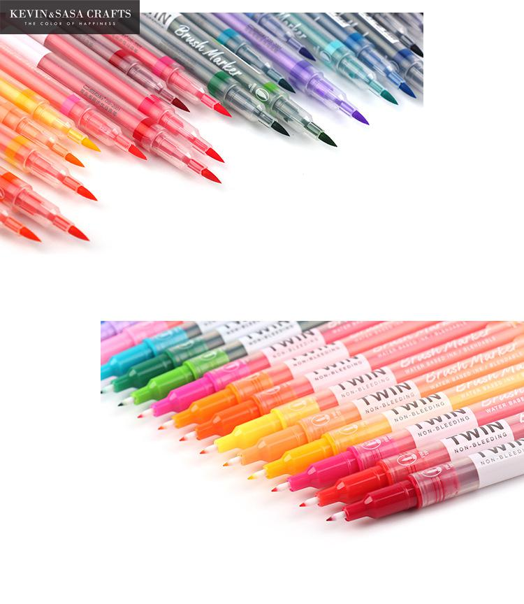 12Colors/Set Maker Pens Painting Soft Brush Pen Set Watercolor Markers Pen Effect Best For Coloring Books School Pen Supplies 20 color painting soft brush pen set watercolor markers pen effect best for coloring books student art painting supplies