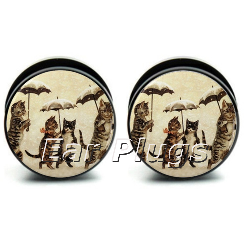 1 pair Vintage Cats Plugs ear plug gauges tunnel acrylic screw flesh tunnel body piercing jewelry
