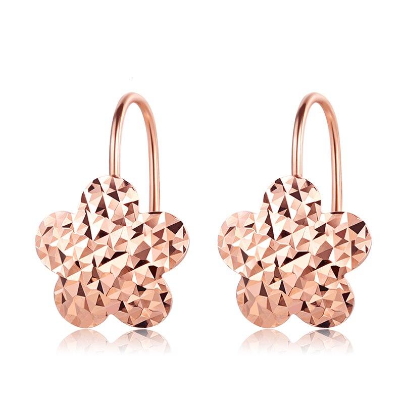 Solid AU750 Rose Gold Earrings Lady's Flower Stud Earrings